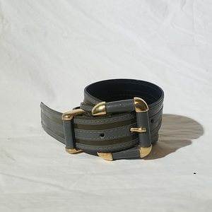 Vintage CARLISLE Belt Olive Green Grey Striped